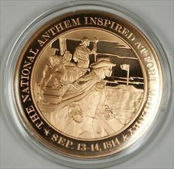 Bronze Proof Medal the National Anthem Inspired at Fort Mchenery Sep13-14 1814