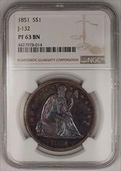 1851 Seated Liberty Copper Dollar US Pattern Proof Coin J-132 NGC  BN, WW