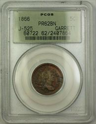 1866 Nickel Pattern PCGS  BN OGH Garrett *Private Restrike* J-525 Judd WW