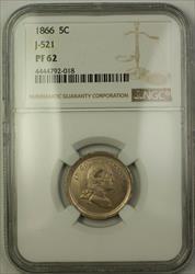 1866 Nickel Pattern Proof 5c Coin NGC  J-521 *Private Restrike* Judd WW