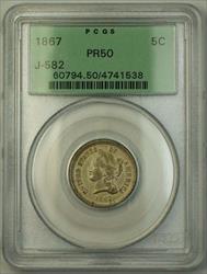 1867 Nickel Pattern Proof 5c PCGS  OGH J-582 *Private Restrike* Judd WW