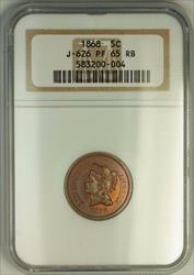 1868 Nickel Pattern Gem Proof 5c Coin NGC  RB Toned J-626 Judd WW