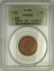 1868 Nickel Pattern Gem Proof 5c Coin PCGS  RB OGH J-628 Judd WW