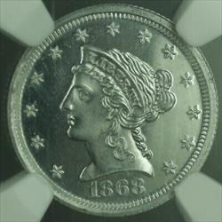 1868 Proof $2.50 Quarter Eagle Gold Coin Aluminum Pattern J-654 NGC  CAM WW