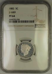 1882 Liberty V Nickel Pattern Proof Coin NGC  J-1689 Judd WW