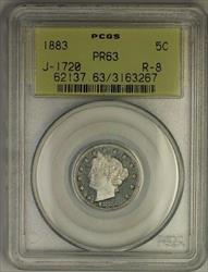 1883 Liberty V Nickel Pattern Proof 5c PCGS  Better Coin OGH J-1720 Judd WW