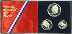 1976 US Mint Bicentennial 3 Piece Silver Proof Set with COA in OGP