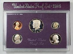 1986 US Mint Proof Set 5 Gem Coins w/ Box & COA