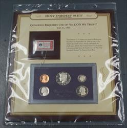 1987 Proof Set NO COA and 1960 4c Stamp from the American Creedo Series