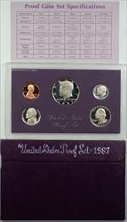 1987 US Mint Clad Gem Proof Set 5 Coins with Original Mint Box and COA
