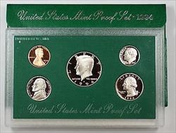 1994 US Mint Proof Set 5 Gem Coins w/ Box & COA