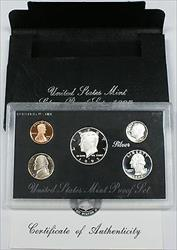 1995 US Mint SILVER Proof Set Gem Coins w/ Box & COA
