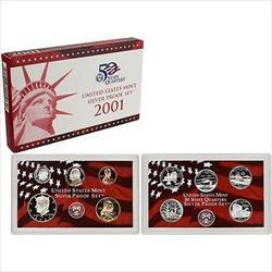2001 US Mint Silver Proof Set 10 Gem Coins w/ Box & COA OGP