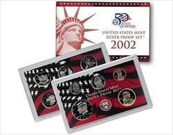 2002 US Mint Silver Proof Set 10 Gem Coins w/ Box & COA