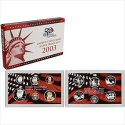 2003 US Mint Silver Proof Set 10 Gem Coins w/ Box & COA