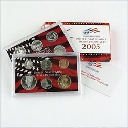 2005 US Mint Silver Proof Set 10 Gem Coins w/ Box & COA