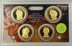 2010 U.S. Mint 4 Coin Proof Presidential Dollar Set NO BOX NO COA