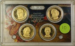 2010 U.S. Mint 4 Coin Proof Presidential Dollar Set NO BOX NO COA Cracked Case