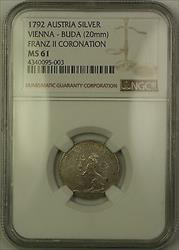 1792 Austria Vienna-Buda Silver Franz II Coronation Token 20mm NGC