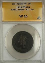 1834 Hard Times Token Lafayette HM&EI Richards Attleboro Mass HT-150 ANACS