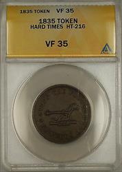 1835 Hard Times Token Plow OBV Walsh's Store Lansingburgh NY HT-216 ANACS