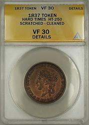1837 Hard Times Token Deveau's Chatham Sqaure NY HT-250 ANACS  Details