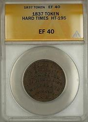 1837 Hard Times Token EF Sise & Co Portsmouth NH HT-195 ANACS  (A)