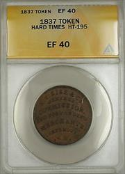 1837 Hard Times Token EF Sise & Co Portsmouth NH HT-195 ANACS  (B)