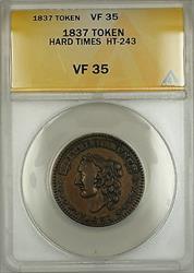 1837 Hard Times Token H. Crossman Chatham St. New York HT-243 ANACS