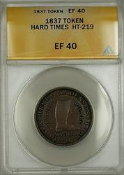 1837 Hard Times Token Henry Anderson Chatham Sqaure New York HT-219 ANACS