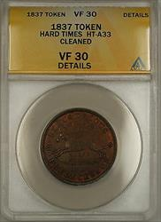 1837 Hard Times Token Horse Obverse Turtle Reverse HT-A33 ANACS  Details
