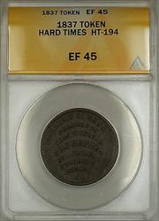 1837 Hard Times Token William Simes & Co Portsmouth NH HT-194 ANACS
