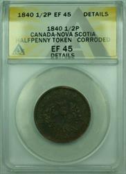 1840 Canada-Nova Scotia 1/2P Penny Token ANACS  Details Corroded (XF)