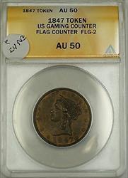 1847 Gaming Counter Token Flag Counter FLG-2 ANACS