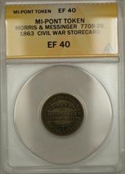 1863 Civil War MI-Pontiac Morris & Messinger Storecard Token 770B-2B ANACS