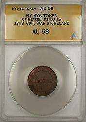 1863 Civil War NY-NYC CF Hetzel Storecard Token 630AJ-1A ANACS