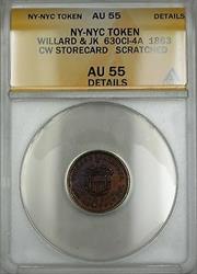 1863 Civil War NY-NYC Willard & JK Storecard Token 630CI-4A ANACS  Details