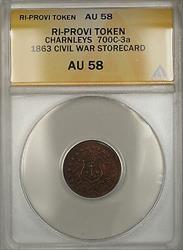 1863 Civil War RI-Provi Charnleys Storecard Token 700c-3a ANACS  (Better)