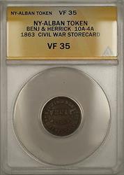 1863 NY-Albany Benjamin & Herrick Civil War Storecard Token 10A-4A ANACS