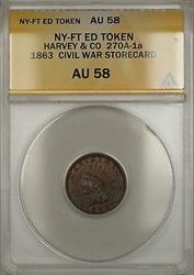 1863 NY-Fort Edward Harvey & CO Civil War Storecard Token 270A-1a ANACS