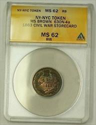 1863 NY-NYC Civil War Storecard MS Brown 630N-4a ANACS  RB Late Die State