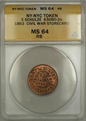 1863 NY-NYC E Schulze Civil War Storecard Token 630BO-2a ANACS  RB (Better)
