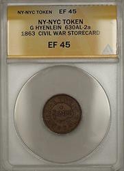 1863 NY-NYC G Hyenlein Civil War Storecard Token 630AL-2a ANACS