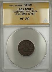 1863 Patriotic Civil War Token 155/400A ANACS