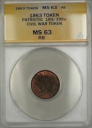 1863 Patriotic Civil War Token 189/399a ANACS  Red-Brown (Better)
