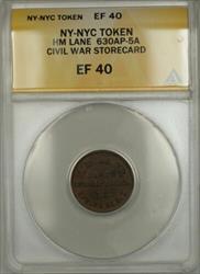 Civil War NY-NYC HM Lane Storecard Token 630AP-5A ANACS