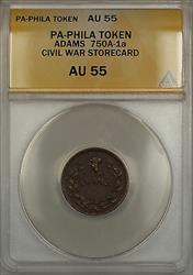 Civil War PA-Philadelphia Adams Storecard Token 750A-1a ANACS  (Better)