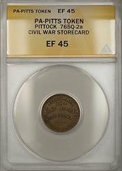 Civil War PA-Pittsburgh Pittock Storecard Token 765Q-2a ANACS