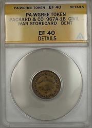 Civil War PA-WGREEN Packard &Co Storecard Token 967A-1B ANACS  Details Bent