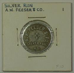 Early 20th Century 1 Bucket Trade Token A.W. Feeser & CO Silver Run MD S-